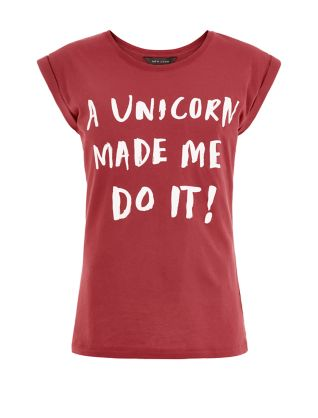 http://www.newlook.com/shop/womens/tops/dark-red-a-unicorn-made-me-do-it-roll-sleeve-t-shirt_336757165