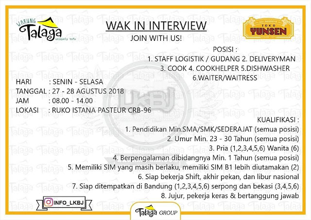 Walkin interview Warung Talaga