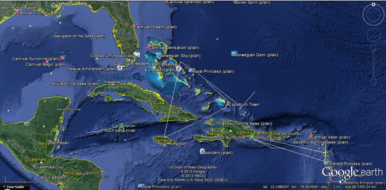 Track Cruise Ships GOOGLE EARTH ONLINE | Ship Cruises
