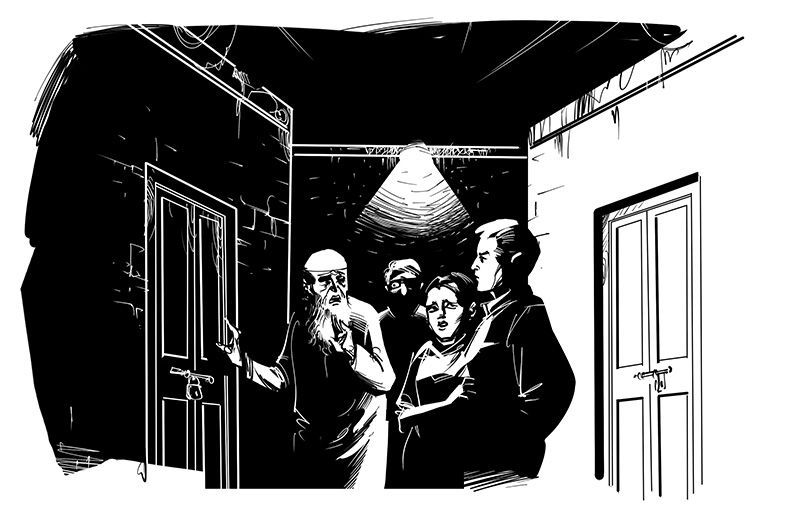horror story group nearing a closed door illustration