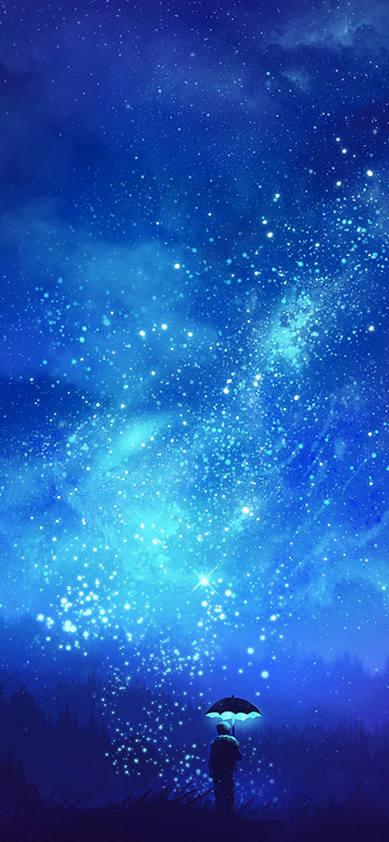 Night Sky Stars Scenery Anime 4k Wallpaper 123