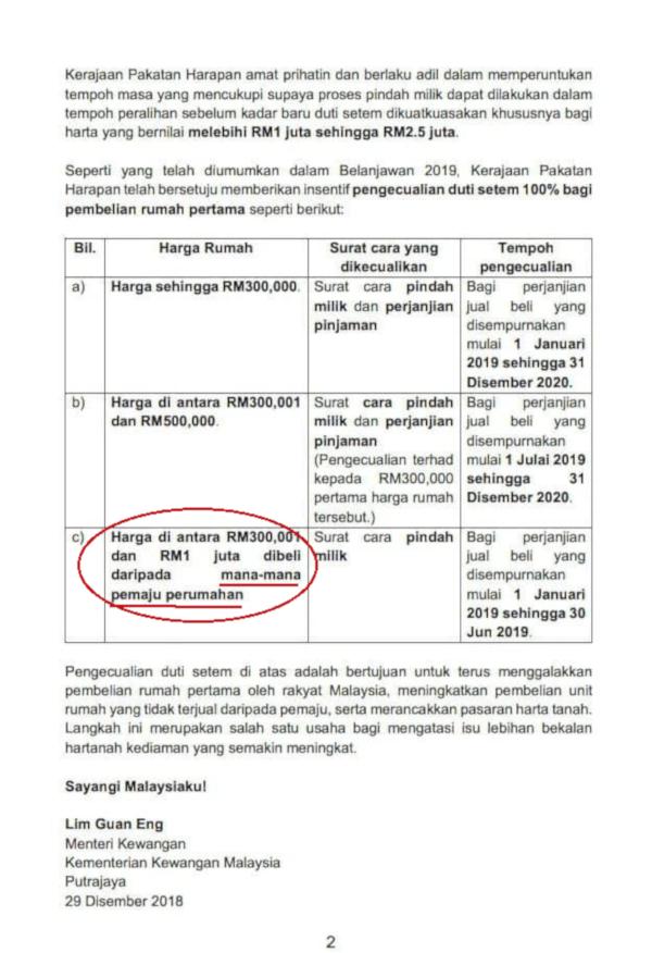 Pengecualian duti setem pembelian rumah pertama - Sayangi Malaysiaku atau Sayangi Pemajumu?