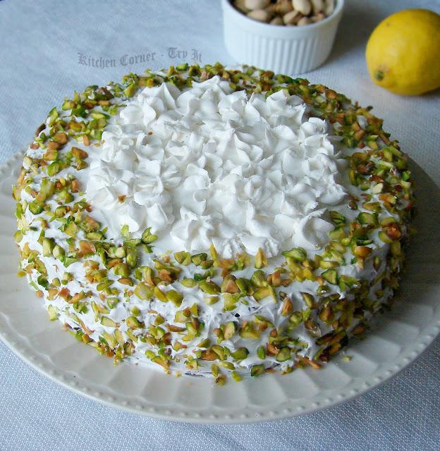 Pistachio Cake With Lemon Curd Filling