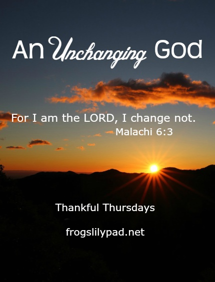 We serve an Unchanging God. While uncomfortable changes are made every day in our lives, there is ONE who does not change. frogslilypad.net