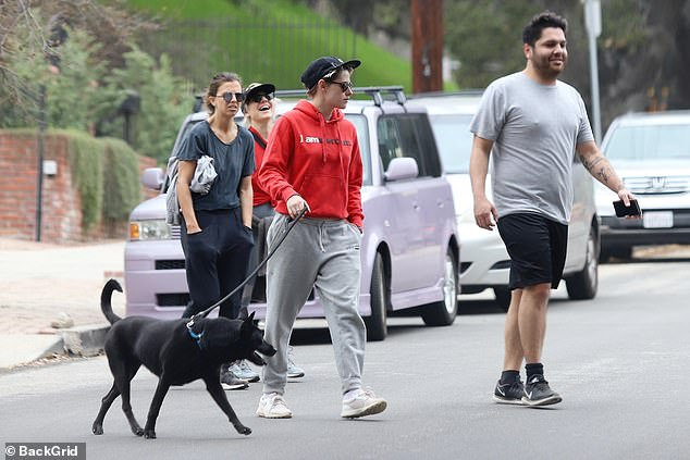 Kristen Stewart pictured on a hike with her dog and friends in LA