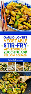 Garlic-Lover's Vegetable Stir Fry with Eggplant, Zucchini, and Yellow Squash found on KalynsKitchen.com
