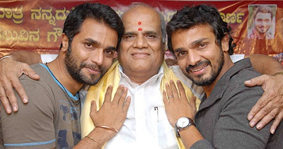 Vijay Raghavendra with his father and brother
