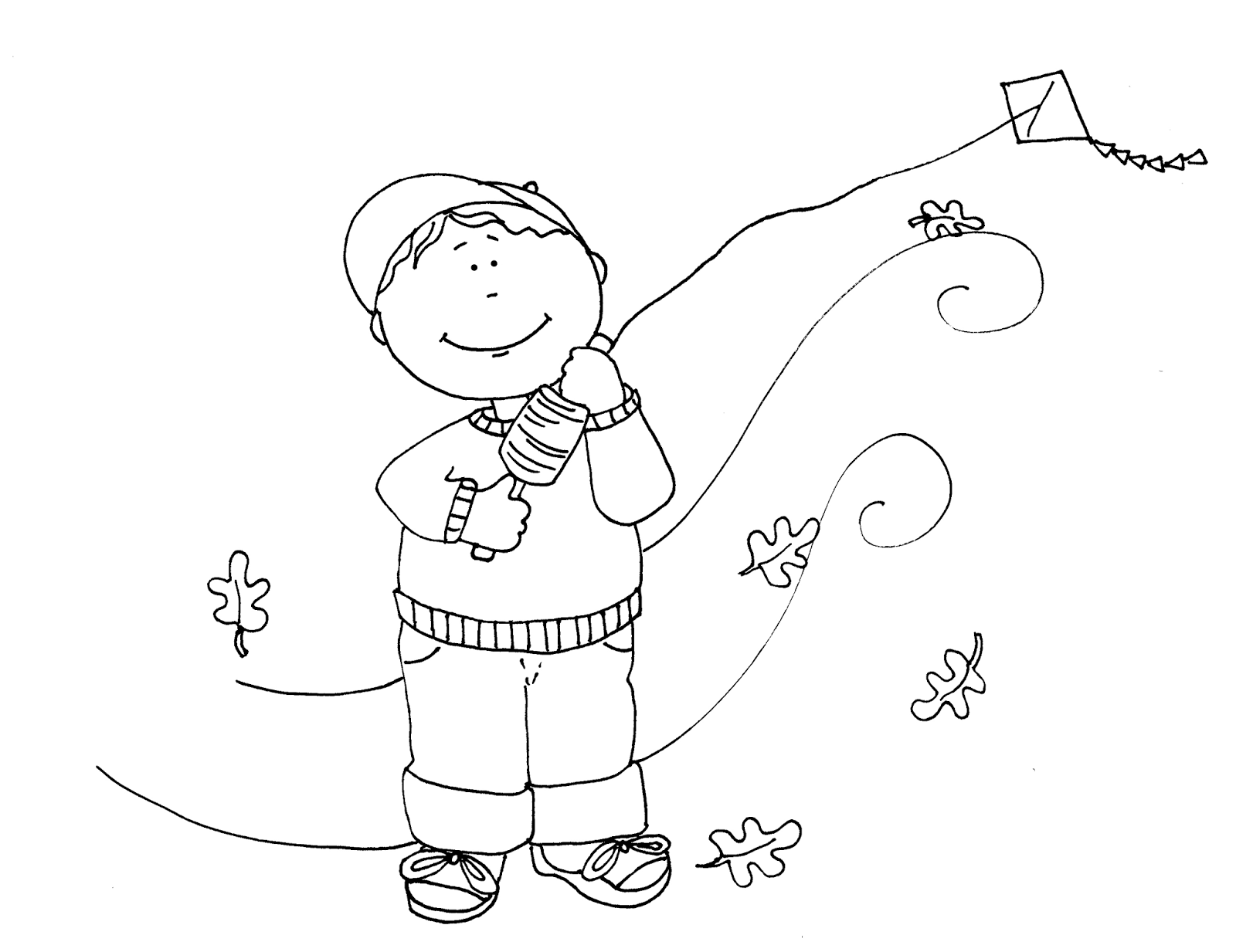 Free Dearie Dolls Digi Stamps Kite Flying Autumn Boy