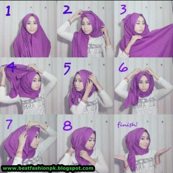 Beautiful Hijab Style Ttutorial www.bestfashionpk.blogspot.com