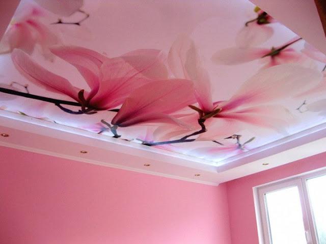 elegant stretch ceiling for kid's room floral design