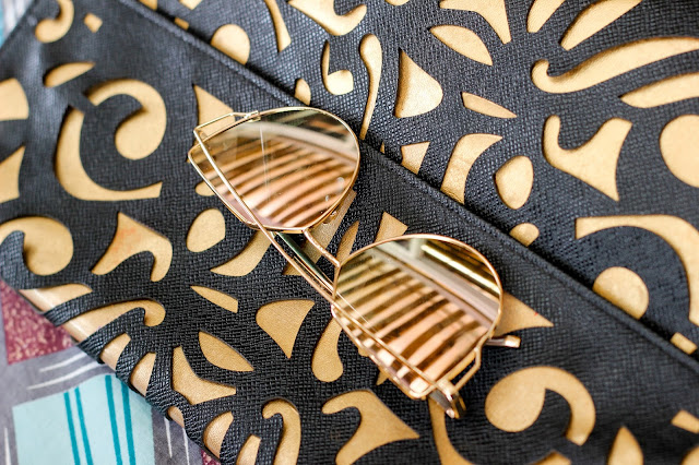 CASUAL DENIM - Lunch Date Outfit Inspiration. Black &Gold laser cut purse and Zaful Pilot sunnies