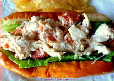 Grilled Lobster (Opt: Shrimp or Crab) Roll: choose your favorite shellfish. Few ingredients in this delicacy, the seafood flavors are the star of the dish. | Recipe developed by www.BakingInATornado.com | #recipe #seafood