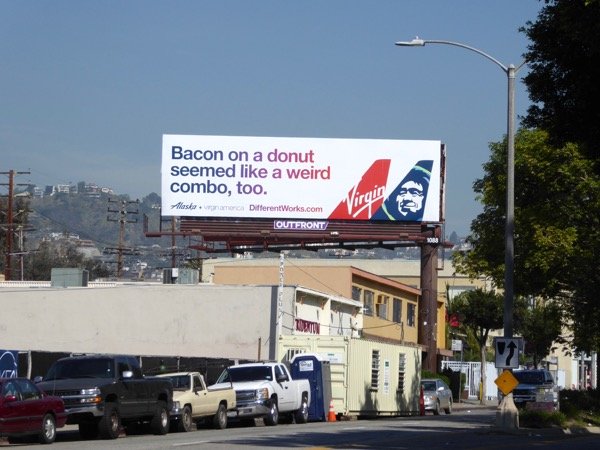 Bacon on a donut Virgin America and Alaska billboard