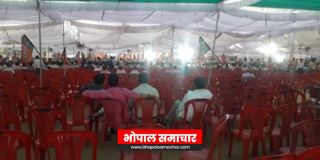 अमित शाह की सभा फ्लॉप: खजुराहो में खाली कुर्सियों को भाषण सुना गए | MP NEWS