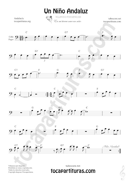Violonchelo y Fagot Partitura de Un Niño Andaluz Sheet Music for Cello and Bassoon Music Scores