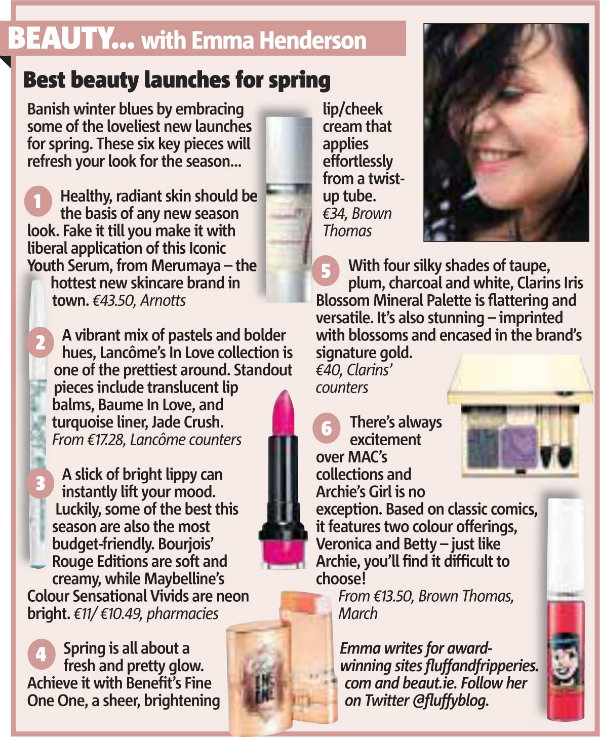 Emma Henderson article on Best Beauty Launches in Metro Herald newspaper
