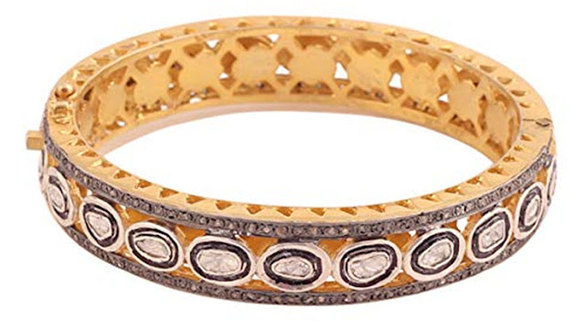 Attractive Diamond Polki and Rosecut Diamond Gemstone 18k Gold & Silver Victorian Bangle