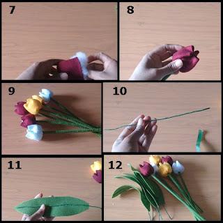 Gambar tutorial bunga tulip cantik dari flanel part 2