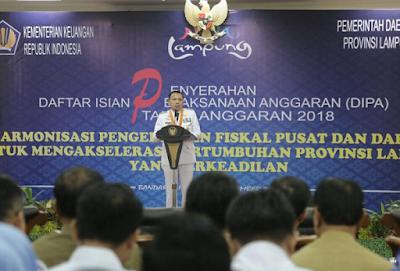 Gubernur Ridho Serahkan DIPA Tahun Anggaran 2018