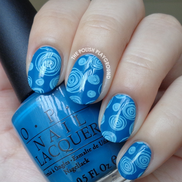 Blue on Blue Circle Doodles Stamping Nail Art