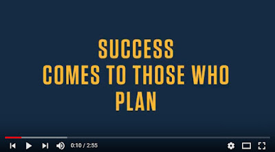 snapshot of a YouTube video, animated text: Success Comes to Those Who Plan