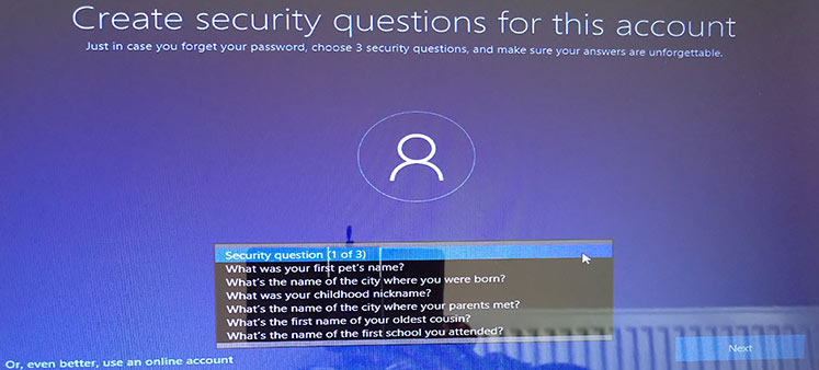 Windows 10 spring creator update you can add the security questions-www.ceofix.net