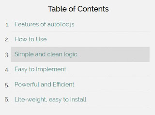 Create Auto Table of Contents jQuery  Plug in - autoToc.js