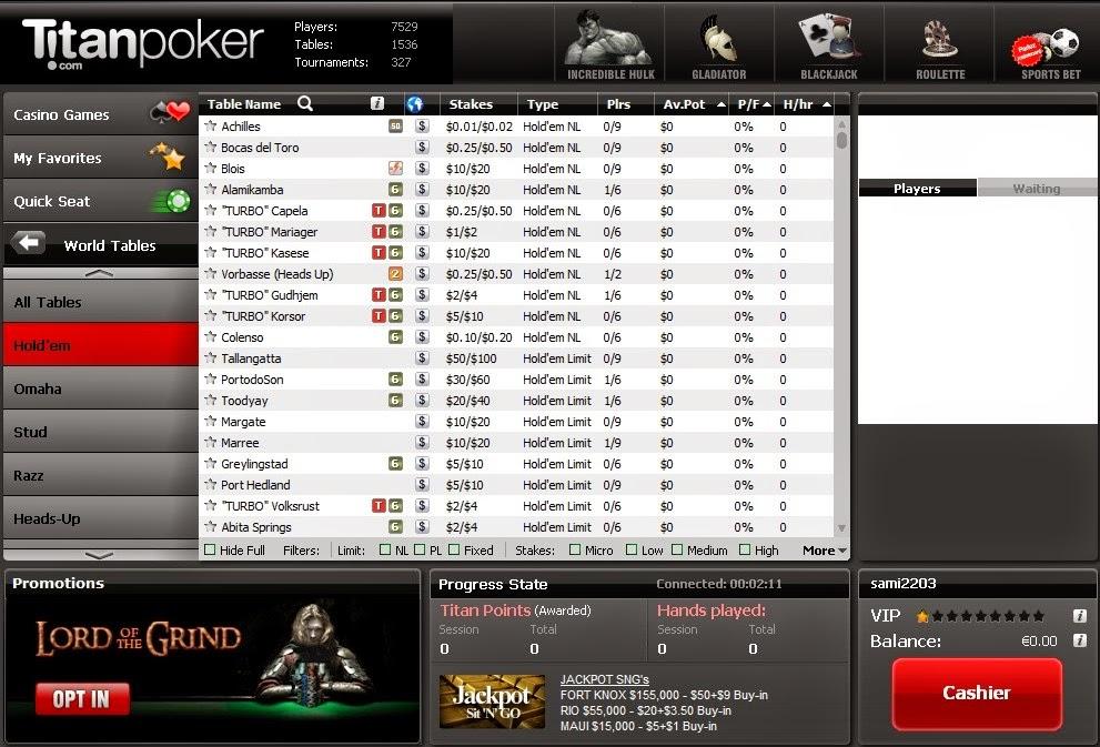 Titan Poker Games Screen