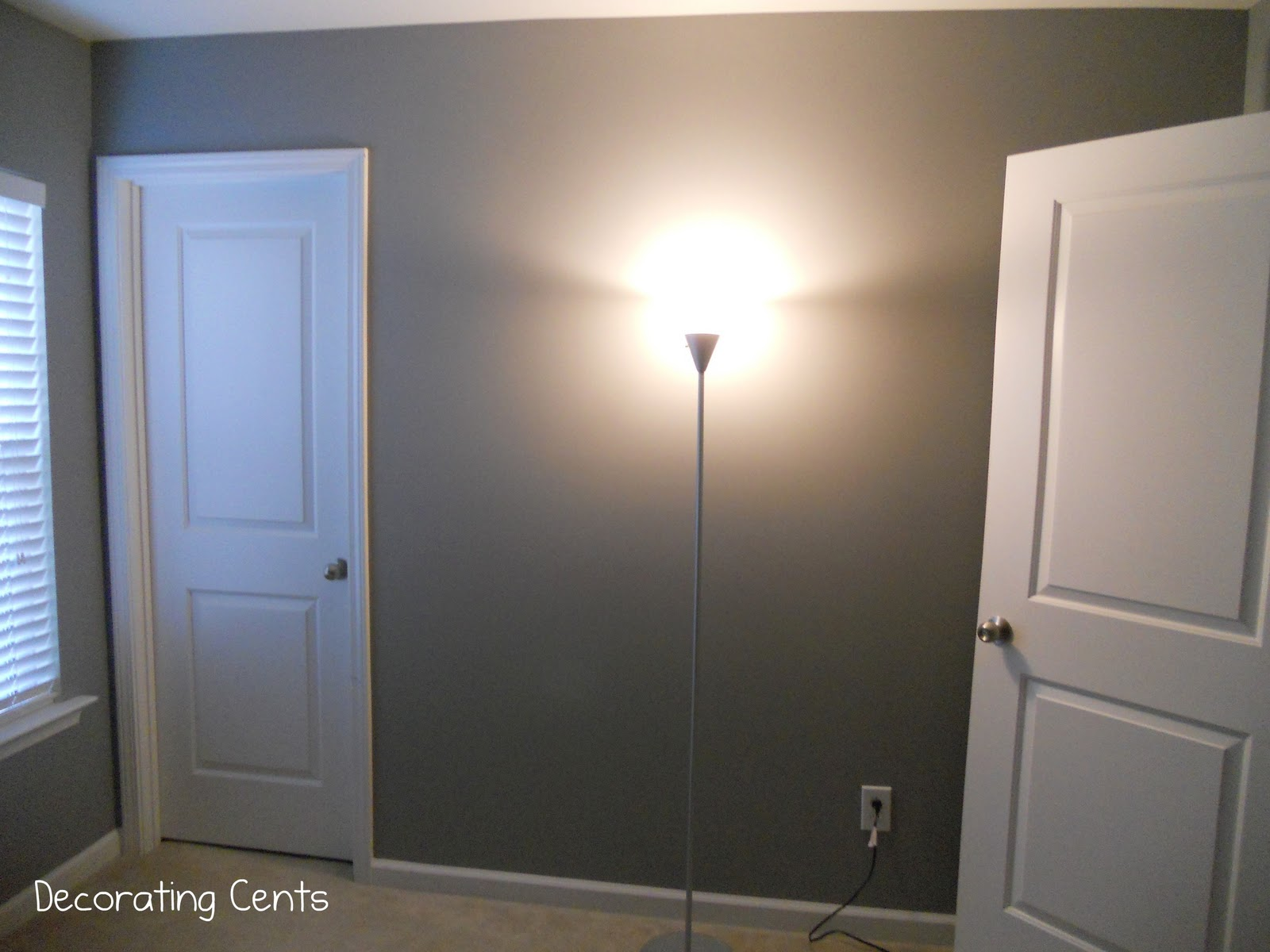 Decorating Cents  Feeling Gray The color is Behr s Grayve Yard  It s a medium shade of gray  It s hard to  get a good picture of this room now because of the dark wall color and  light from