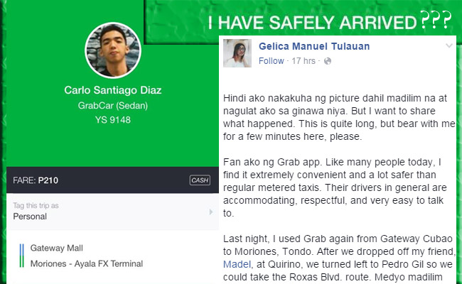 Trending Facebook Story about An Encounter of a Passenger with a GrabCar Driver