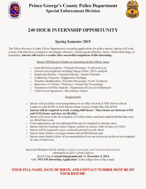 police department internship Intern position information all requests for participation in the maryland state police internship or the department of the maryland state police is.