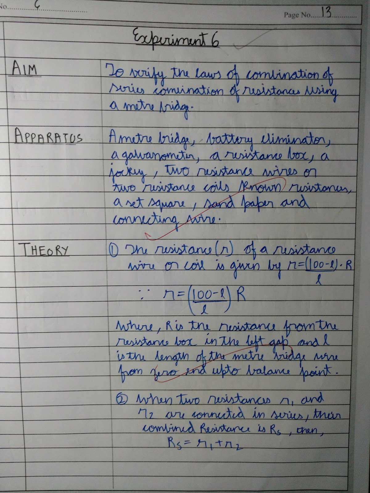 Exp 6. To verify the laws of combination series combination of ...