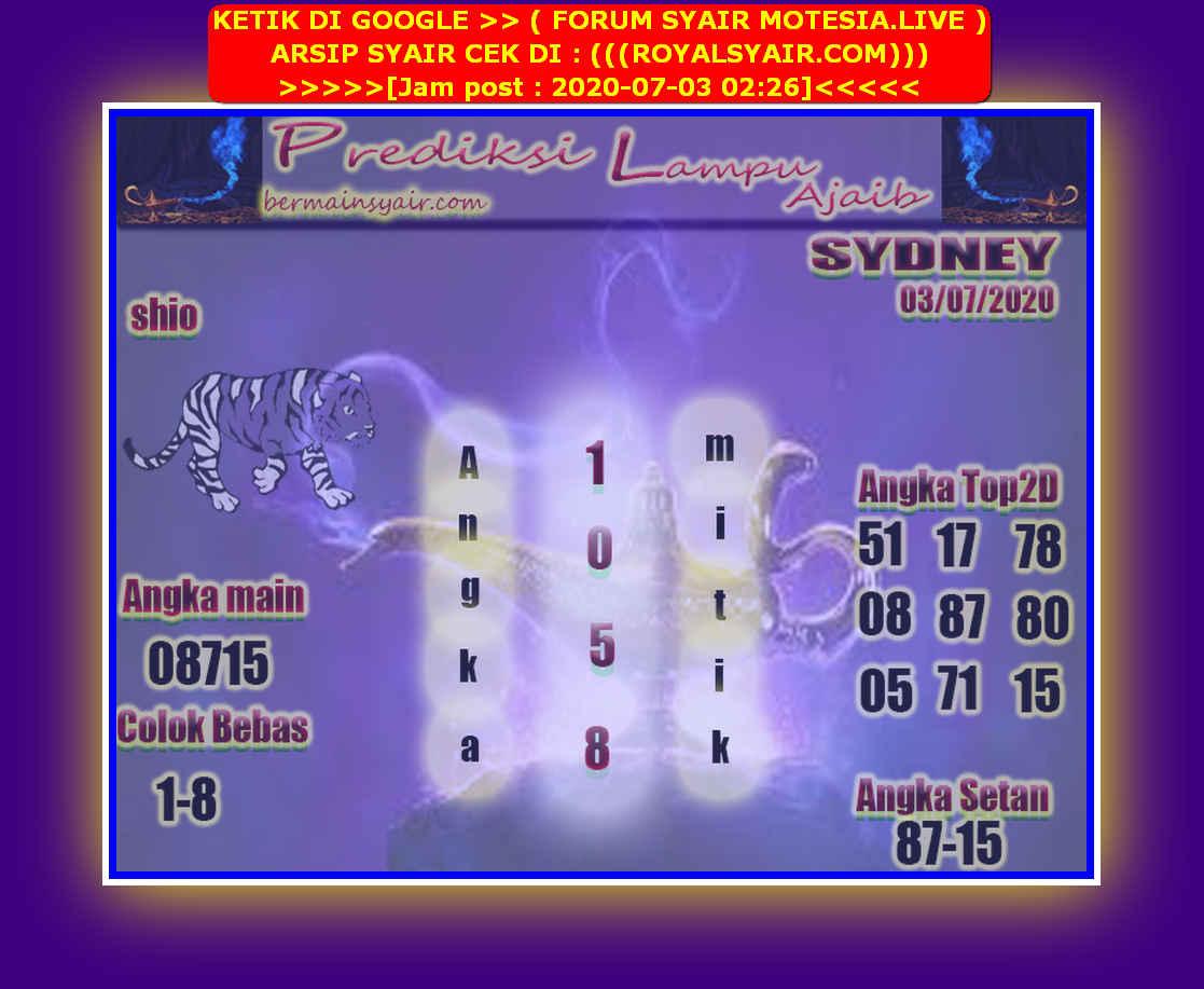 Kode syair Sydney Jumat 3 Juli 2020 220