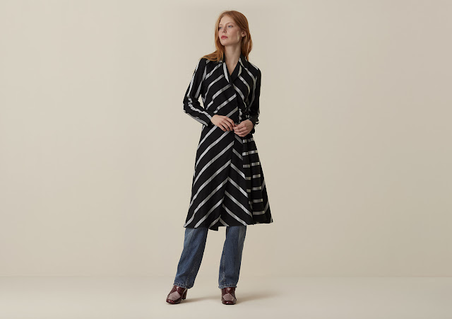 Finery Fenchurch Fluid Stripes Wrap Dress