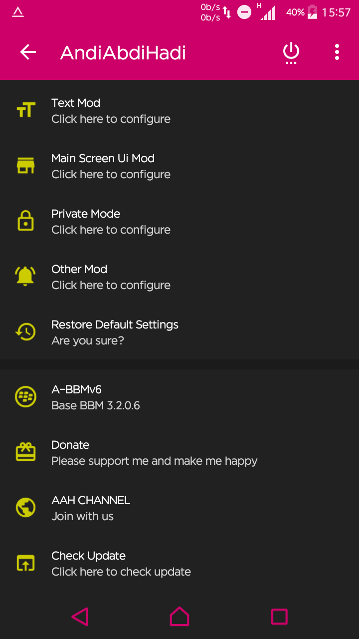Download BBM Mod AAH v6 Include DELTA With Change Theme [Based 3.2.0.6 New Version] Apk Terbaru Gratis