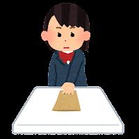封筒を差し出す人のイラスト(女子学生)