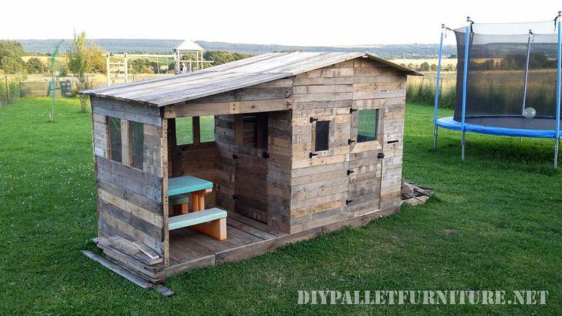 Espectacular casita para ni os hecha - Casitas con palets ...