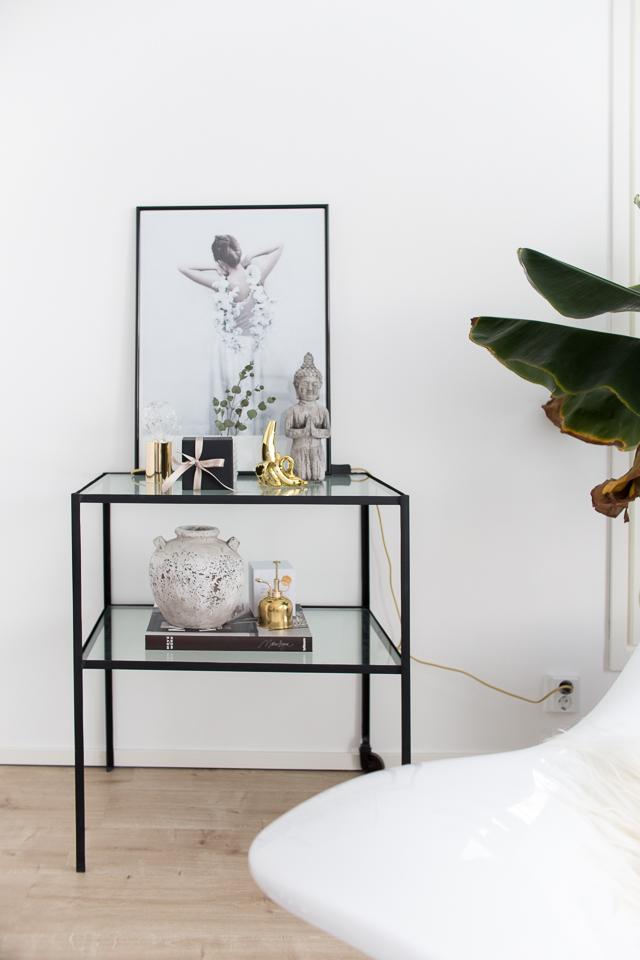 olohuone, sisustus, sivupöytä