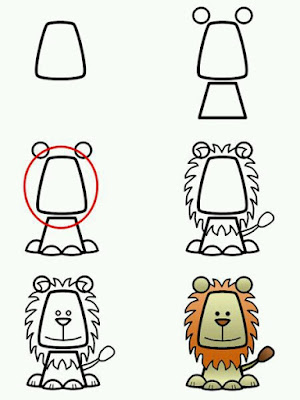 Cara menggambar hewan singa
