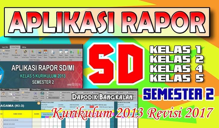 Aplikasi RAPOR SD Semester 2 Kurikulum 2013 Revisi 2017 Lengkap