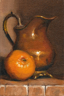 Oil painting of a mandarine beside a copper jug with brass handle.