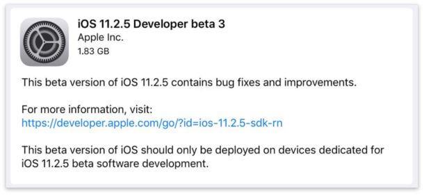 اطلقت ابل iOS 11.2.5 بيتا 3 للاختبار