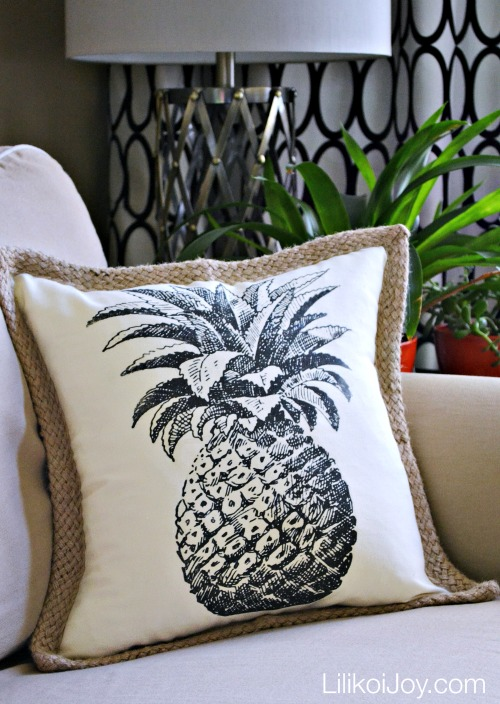DIY Tropical Pineapple Pillow Cover. This project is so easy and inexpensive! Use any graphic to create a custom look!