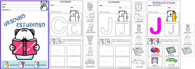 Caderno de Atividades Ursinho Estudioso Letras do Alfabeto