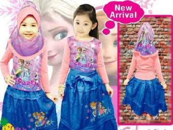 baju muslim anak perempuan frozen