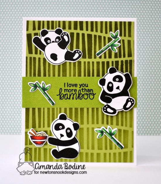 Panda Card by Amanda Bodine | Playful Pandas Stamp Set and Serene Stripes Stencil by Newton's Nook Designs #newtonsnook #handmade