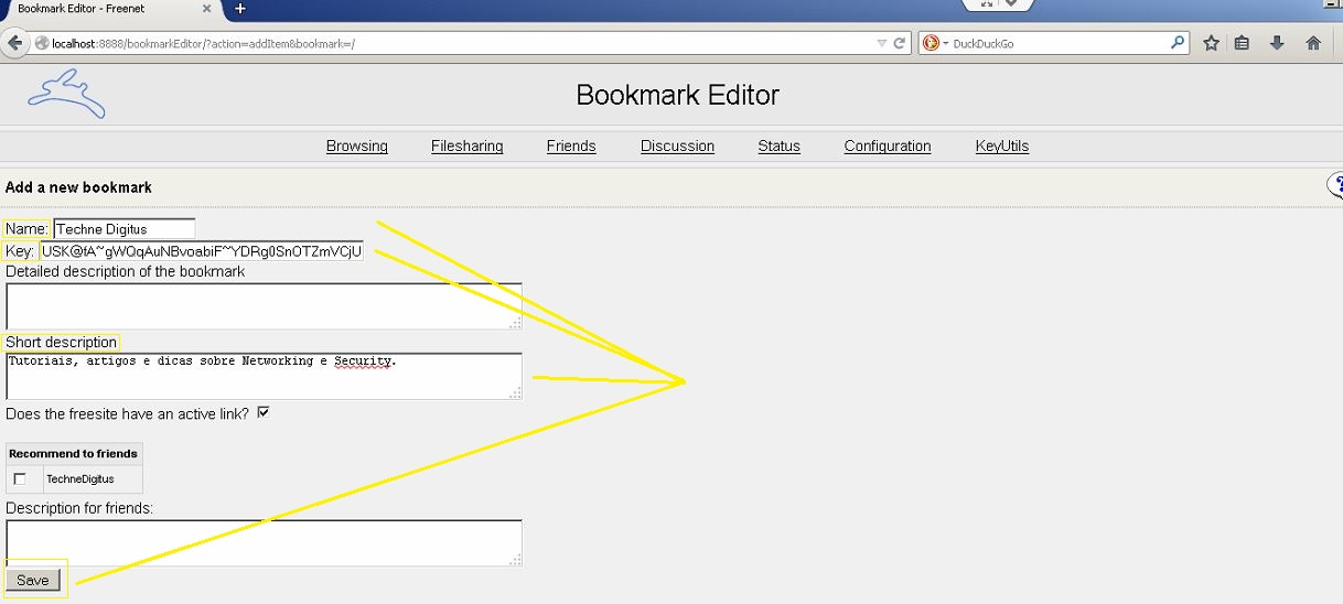 Freenet Bookmarks Editor Technedigitus