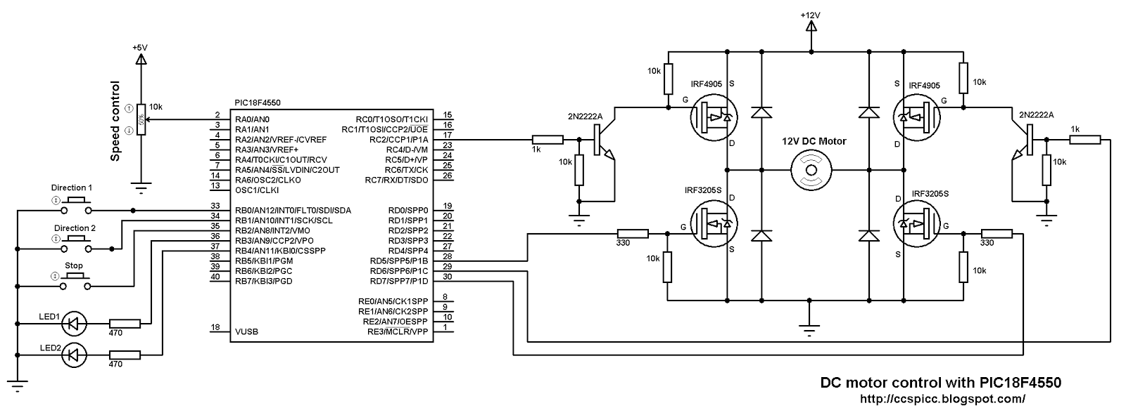 dc motor speed and direction control with pic18f4550 On dc motor direction control