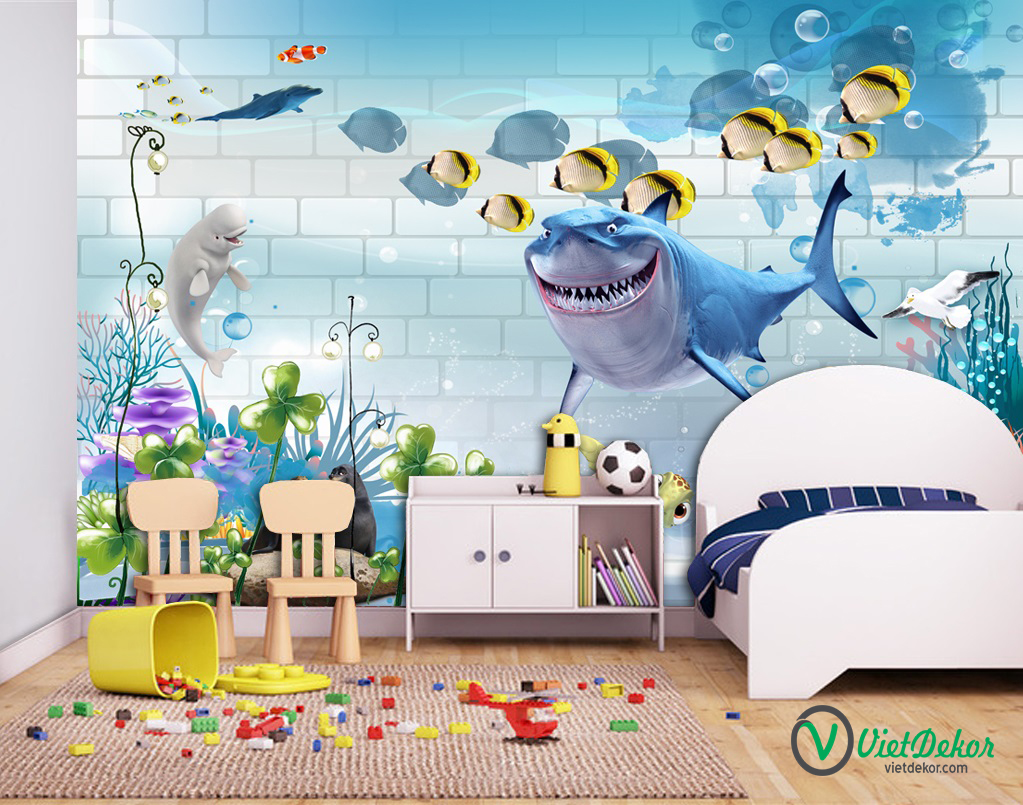 Tranh dán tường 3d cá mập phòng cho bé