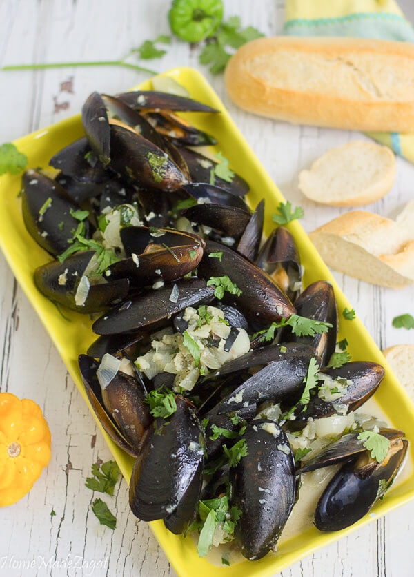 Mussels steamed in coconut milk